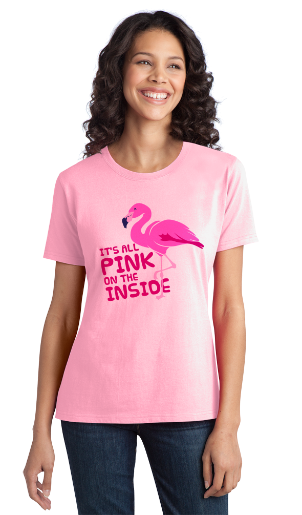 Ladies Pink It's All Pink On The Inside! - Dirty Joke Raunchy Animal Funny
