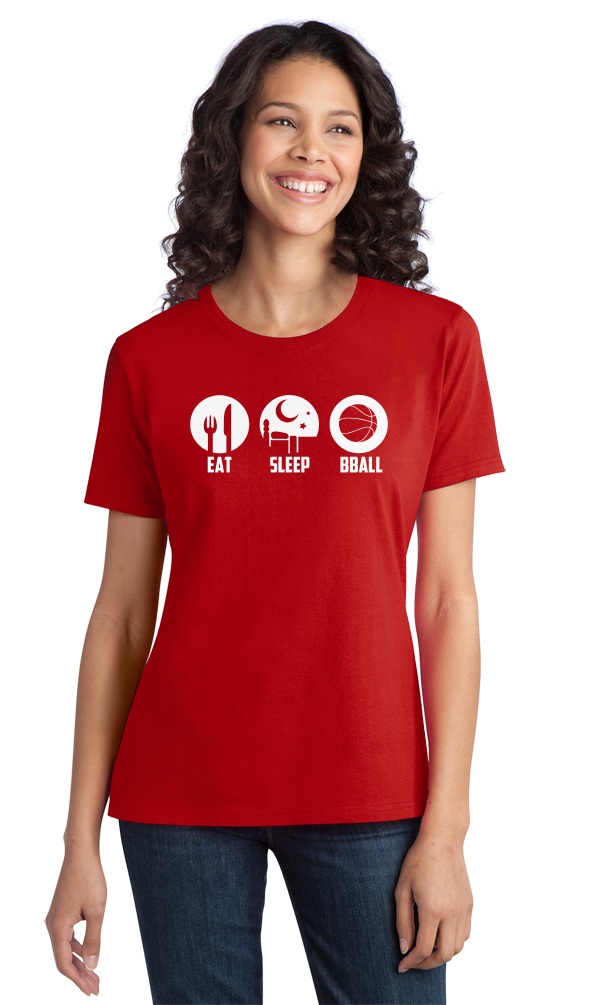 Ladies Red Eat, Sleep, Ball - Basketball Player Fan Dunk Love T-shirt