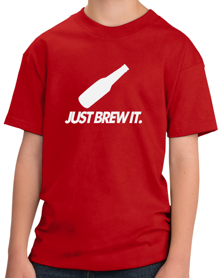 Youth Red Just Brew It  Beer Homebrewer Funny Home Brewing Gift T-shirt