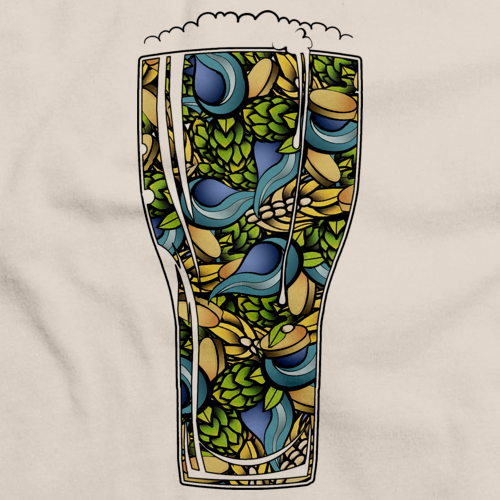 STYLIZED BEER RECIPE SHIRT Natural art preview