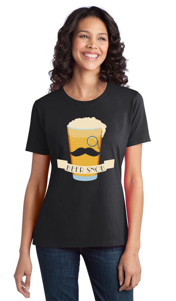 Ladies Black Beer Snob - Hipster Beer Lover Irony Funny Snob Craft Brew Booze T-shirt