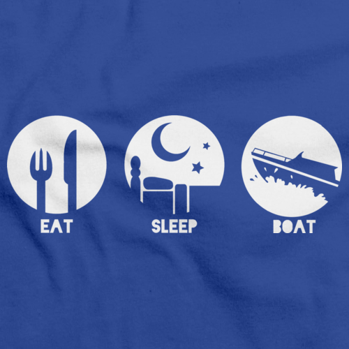 EAT, SLEEP, BOAT Royal Blue art preview