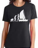 Ladies Black Sailing Evolution - Funny Sailing Enthusiast Lake Boat T-shirt