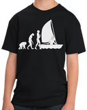 Youth Black Sailing Evolution - Funny Sailing Enthusiast Lake Boat T-shirt