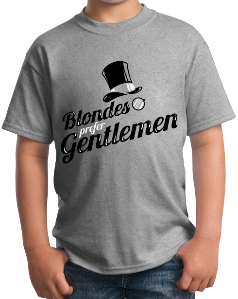 Youth Grey Blondes Prefer Gentlemen - Ironic PUA Sarcasm Humor Sex T-shirt