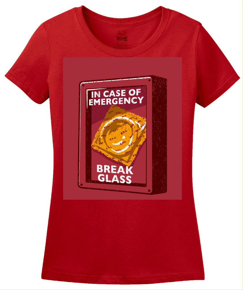 Ladies Red Condom Emergency - Safe Sex Condom Joke Funny Sex-Positive T-shirt