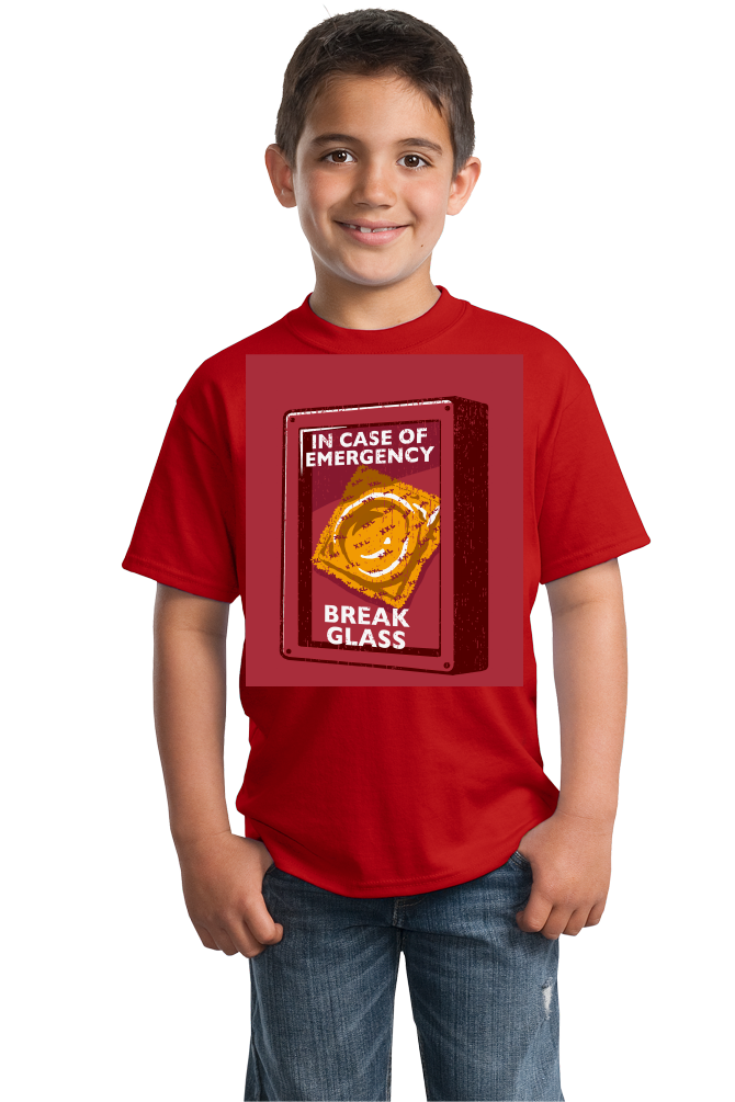 Youth Red Condom Emergency - Safe Sex Condom Joke Funny Sex-Positive T-shirt