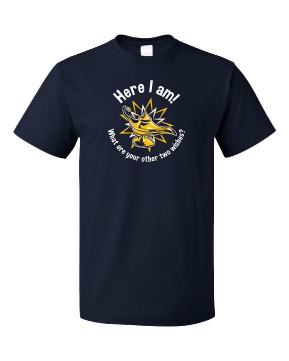 Standard Navy Here I Am! What Are Your Other Two Wishes? - Cocky T-shirt