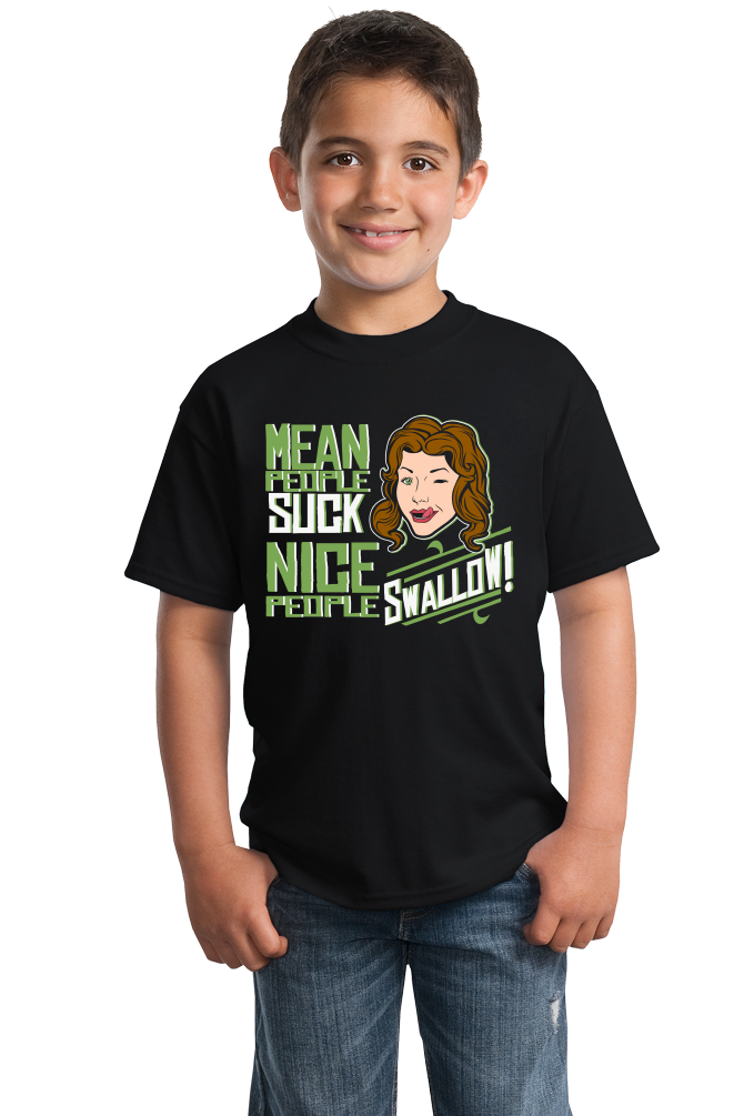 Youth Black Mean People Suck (Nice People Swallow) - Blowjob Humor Adult T-shirt