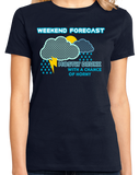 Ladies Navy Forecast: Drunk W/ Chance Of Horny - Predator Warning Sex Funny T-shirt