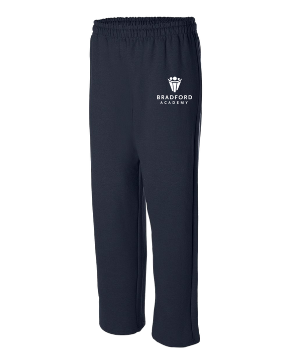 Adult Open Bottom Sweatpants Navy Bradford Academy Embroidered Logo Sweatpants