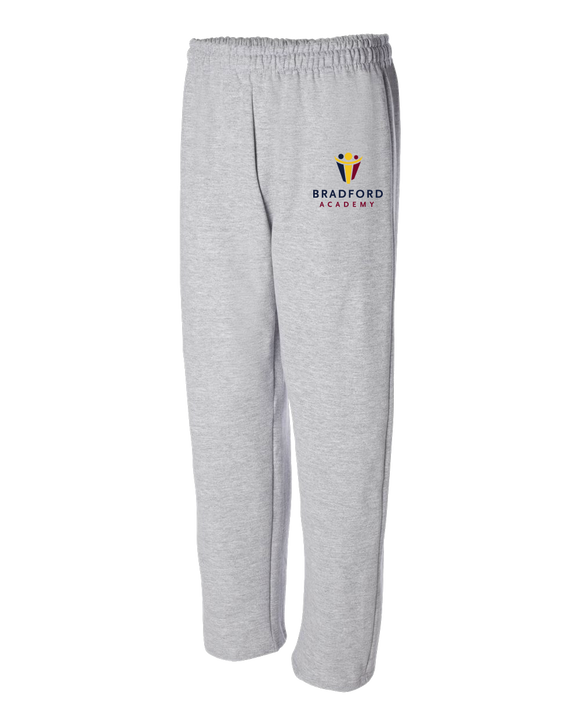 Adult Open Bottom Sweatpants Grey Bradford Academy Embroidered Logo Light Sweatpant