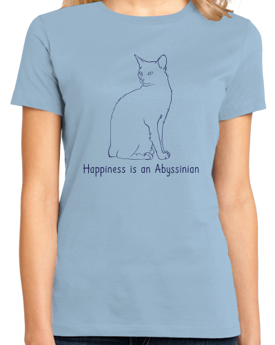 Ladies Light Blue Happiness Is An Abyssinian - Cat Lover Abyssinian Kitty Breed T-shirt