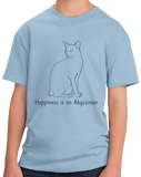 Youth Light Blue Happiness Is An Abyssinian - Cat Lover Abyssinian Kitty Breed T-shirt