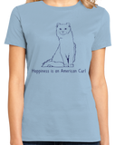 Ladies Light Blue Happiness Is An American Curl - Cat Lover Kitty Breed Fancier T-shirt