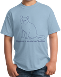Youth Light Blue Happiness Is An American Short Hair - Cat Lover Kitty Breed T-shirt