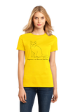 Ladies Yellow Happiness Is An American Short Hair - Cat Lover Kitty Breed T-shirt