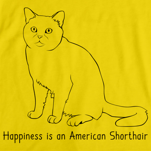 Happiness Is An American Short Hair Yellow Art Preview