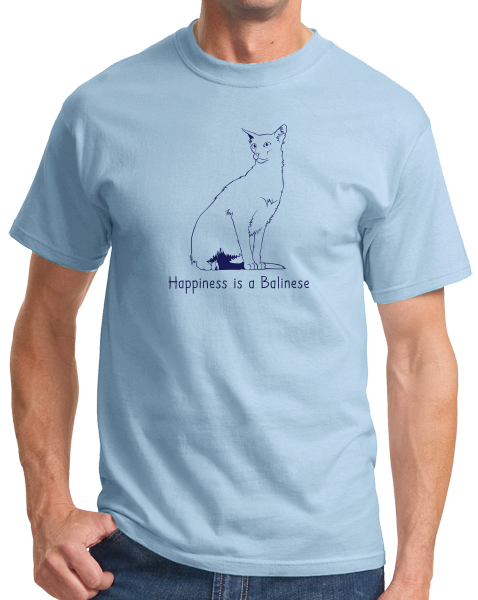 Standard Light Blue Happiness Is A Balinese - Cat Lover Kitty Breed Gift Fancy T-shirt