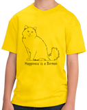 Youth Yellow Happiness Is A Birman - Cat Fancy Birman Breed Lover Gift T-shirt
