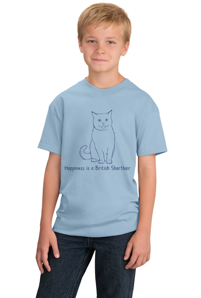 Youth Light Blue Happiness Is A British Shorthair - Cat Fancy British Shorthair T-shirt