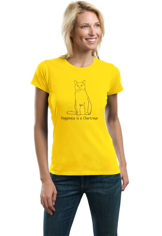 Ladies Yellow Happiness Is A Chartreux - Cat Fancy Charteux Breed Love T-shirt