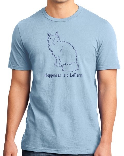 Standard Light Blue Happiness Is A Laperm - Cat Breed Lover Cute Fancy Kitty T-shirt