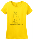 Ladies Yellow Happiness Is A Maine Coon - Cat Breed Lover Hemingway Cute T-shirt