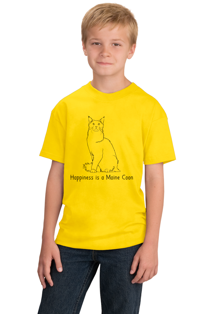 Youth Yellow Happiness Is A Maine Coon - Cat Breed Lover Hemingway Cute T-shirt