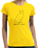 Ladies Yellow Happiness Is A Manx - Cat Breed Lover Cute Fancy Funny Kitty T-shirt
