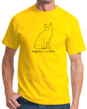 Standard Yellow Happiness Is A Manx - Cat Breed Lover Cute Fancy Funny Kitty T-shirt