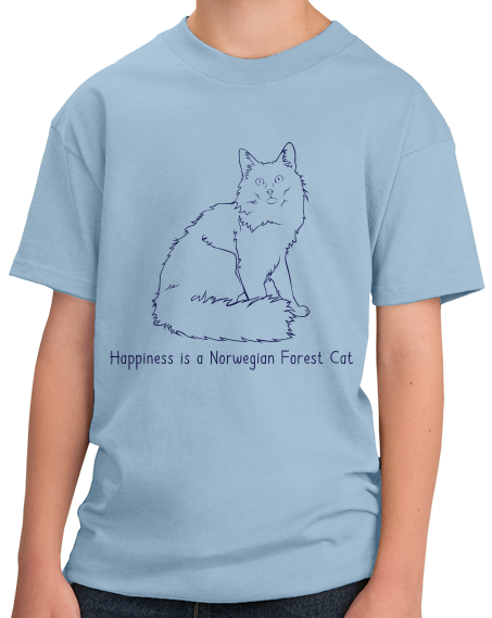 Youth Light Blue Happiness Is A Norwegian Forest Cat - Cat Breed Lover Fancy T-shirt