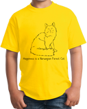 Youth Yellow Happiness Is A Norwegian Forest Cat - Cat Breed Lover Fancy T-shirt