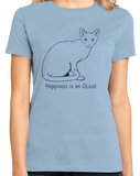 Ladies Light Blue Happiness Is An Ocicat - Cat Breed Lover Ocelot Kitty Fancy T-shirt