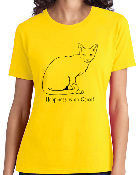 Ladies Yellow Happiness Is An Ocicat - Cat Breed Lover Ocelot Kitty Fancy T-shirt