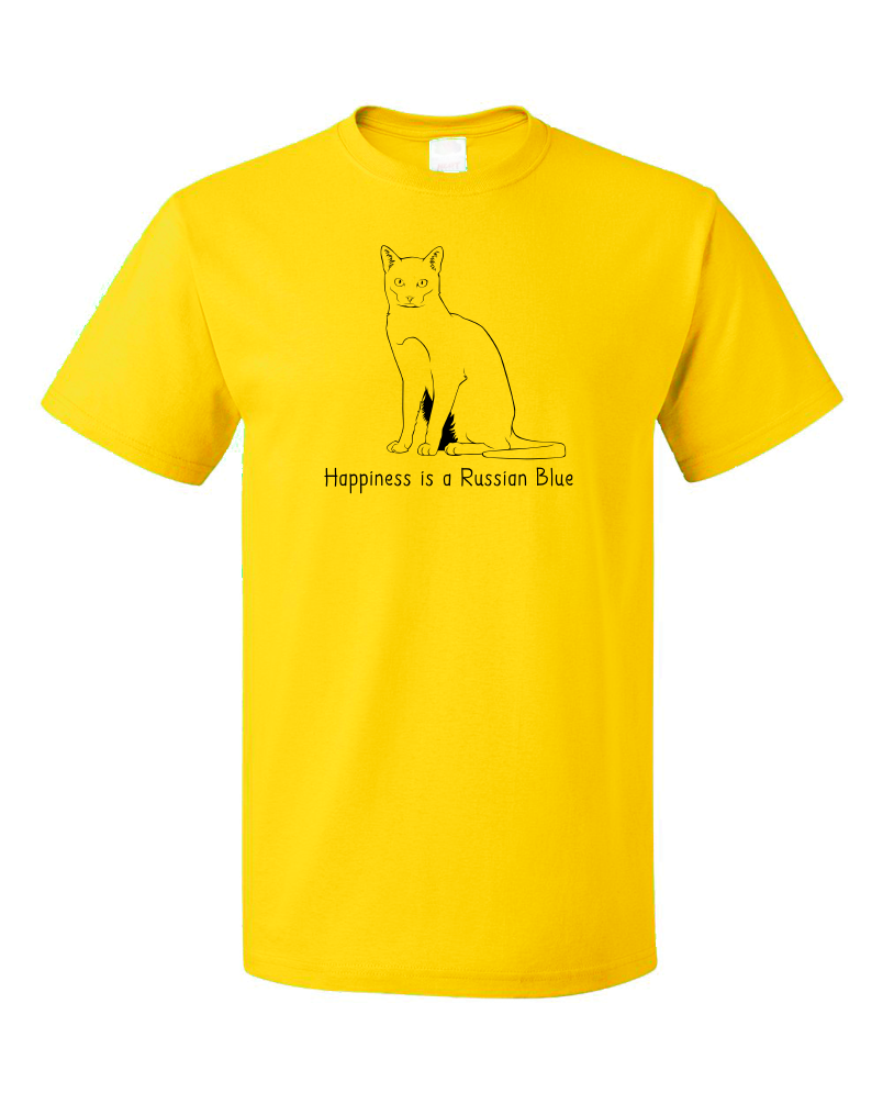 Standard Yellow Happiness Is A Russian Blue - Cat Fancy Breed Lover Kitty T-shirt