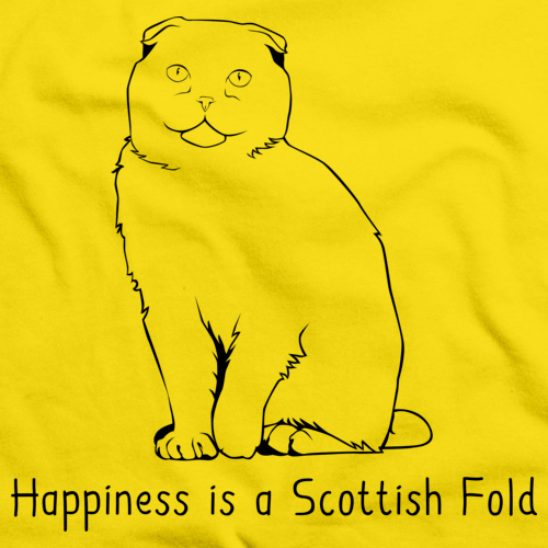 Happiness Is A Scottish Fold Yellow Art Preview