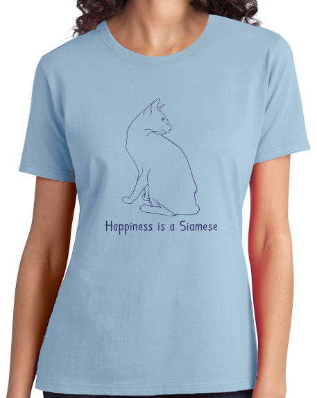 Ladies Light Blue Happiness Is A Siamese - Cat Fancy Breed Kitty Lover Cute T-shirt