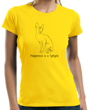 Ladies Yellow Happiness Is A Sphynx - Cat Fancy Breed Hairless Lover Cute T-shirt