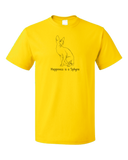 Standard Yellow Happiness Is A Sphynx - Cat Fancy Breed Hairless Lover Cute T-shirt