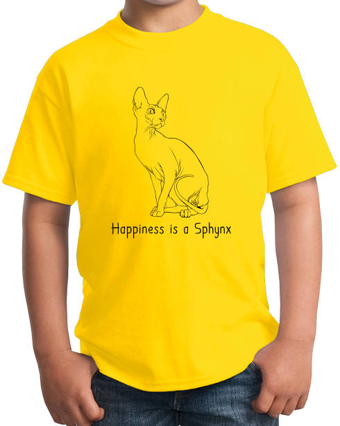 Youth Yellow Happiness Is A Sphynx - Cat Fancy Breed Hairless Lover Cute T-shirt