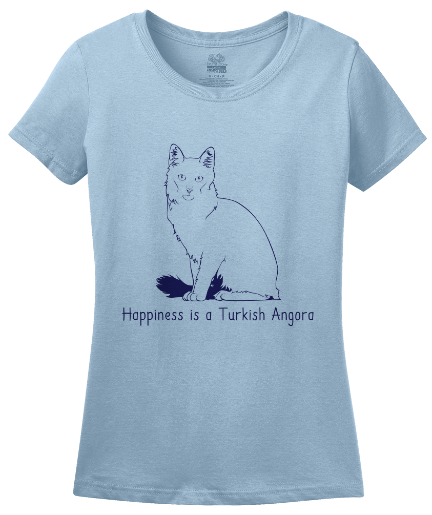 Ladies Light Blue Happiness Is A Turkish Angora - Cat Fancy Breed Lover Cute T-shirt