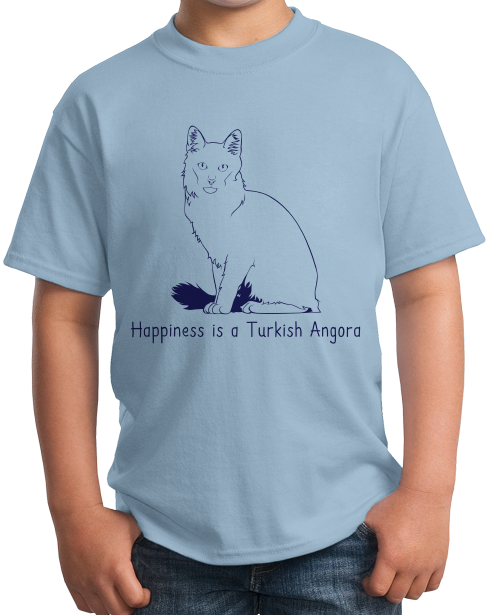 Youth Light Blue Happiness Is A Turkish Angora - Cat Fancy Breed Lover Cute T-shirt