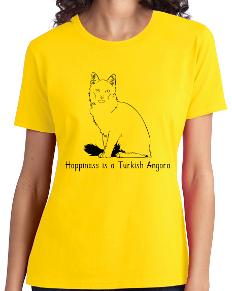 Ladies Yellow Happiness Is A Turkish Angora - Cat Fancy Breed Lover Cute T-shirt
