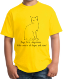 Youth Yellow Boys, Girls, & Abyssinian = Kids - Animal Cat Lover Family T-shirt
