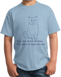 Youth Light Blue Boys, Girls, & British Shorthairs = Kids - Cat Lover Parent T-shirt