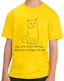 Youth Yellow Boys, Girls, & British Shorthairs = Kids - Cat Lover Parent T-shirt