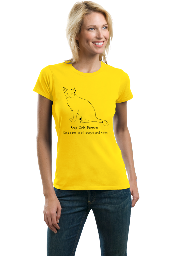 Ladies Yellow Boys, Girls, & Burmese = Kids - Cat Lover Family Parent Pet T-shirt