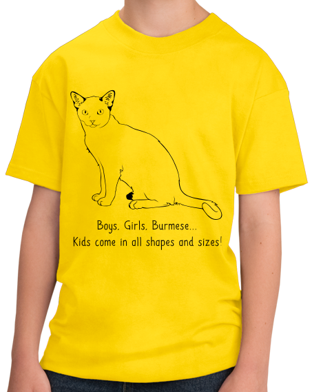 Youth Yellow Boys, Girls, & Burmese = Kids - Cat Lover Family Parent Pet T-shirt