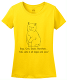 Ladies Yellow Boys, Girls, & Exotic Shorthairs = Kids - Cat Lover Parent T-shirt